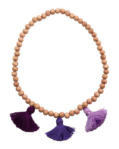 Boho Beads Purple Beaded Tassel Necklace