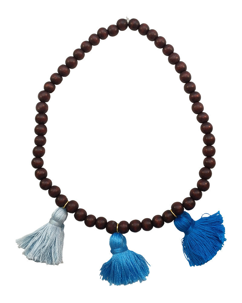 Boho Beads Blue Beaded Tassel Necklace
