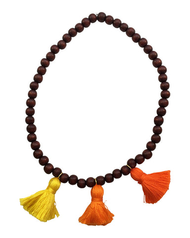 Boho Beads Orange Beaded Tassel Necklace