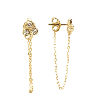 abigail stud earrings with chain