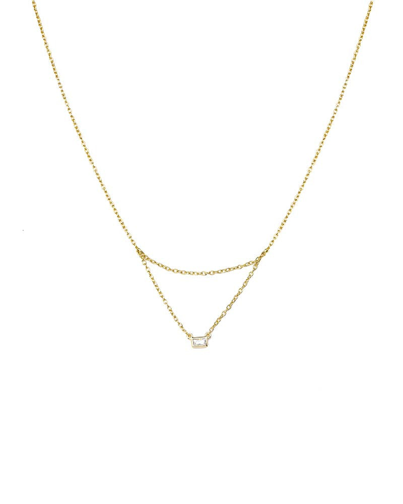 amelia simple chain necklace cz
