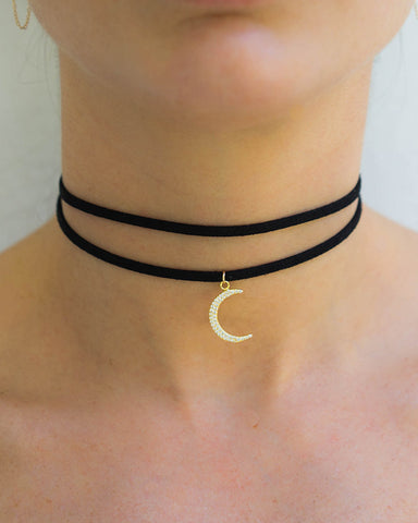 crescent moon leather choker necklace