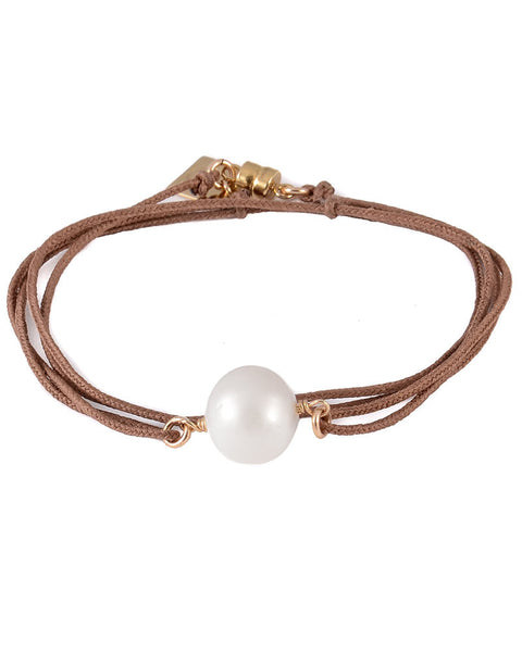 brown camel pearl wrap bracelet designer dafne womens jewelry