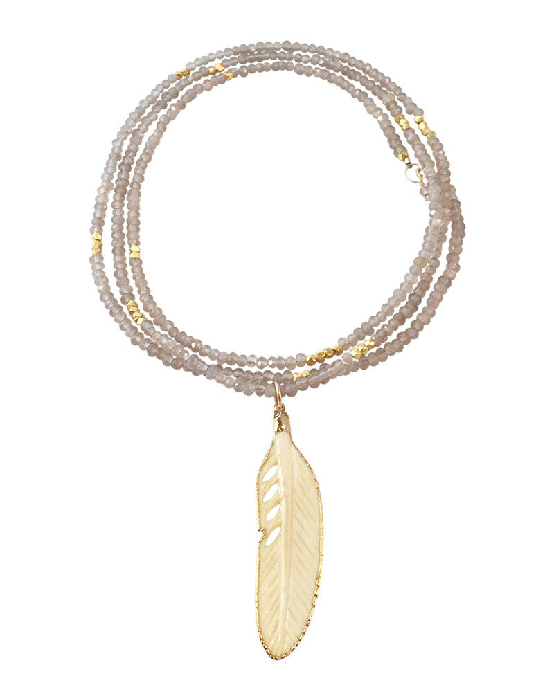 Gold And Gray Agate and Bone Feather Necklace