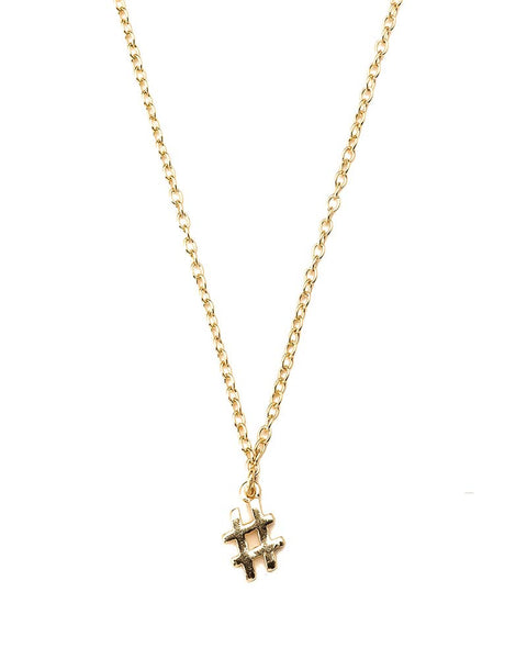 gold tiny hashtag charm necklace