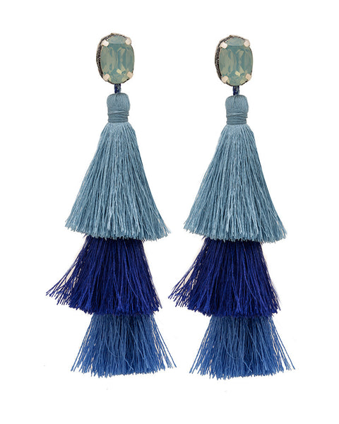 royal light blue tassel earrings deepa gurnani womens designer jewelry