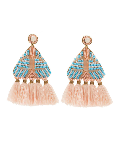 pink tassel earrings womens deepa gurnani designer