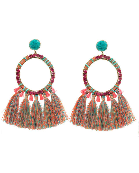 turquoise pink round hoop tassel earrings deepa gurnani