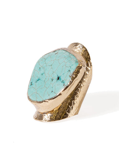 large turquoise chunk gold ring