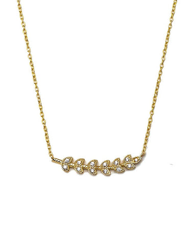 liv small gold leaf with cz necklace