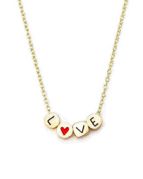 love gold letter necklace