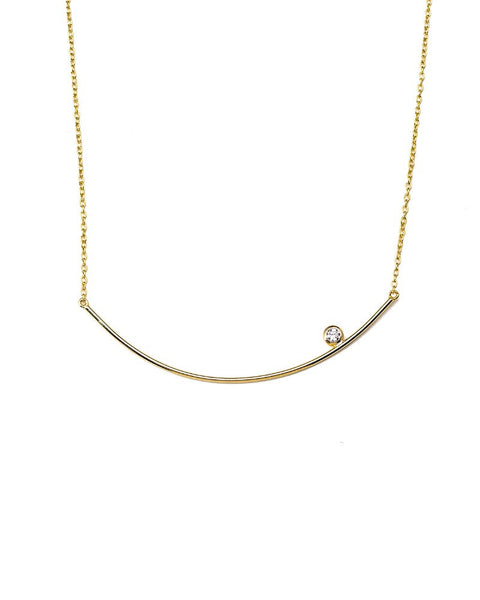 gold curved bar with cz necklace