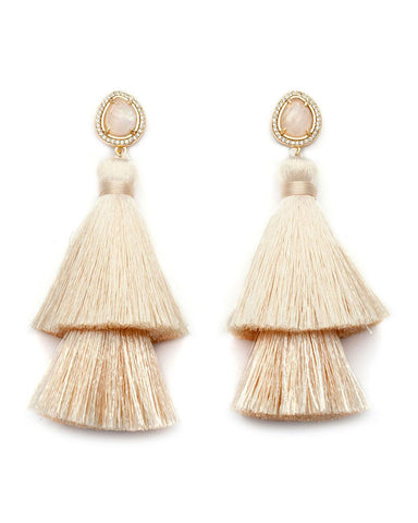 white cream melanie auld designer tassel earrings womens jewelry trendy