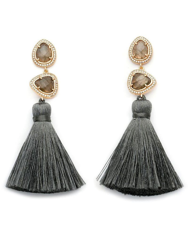 grey womens earrings tassels designer melanie auld