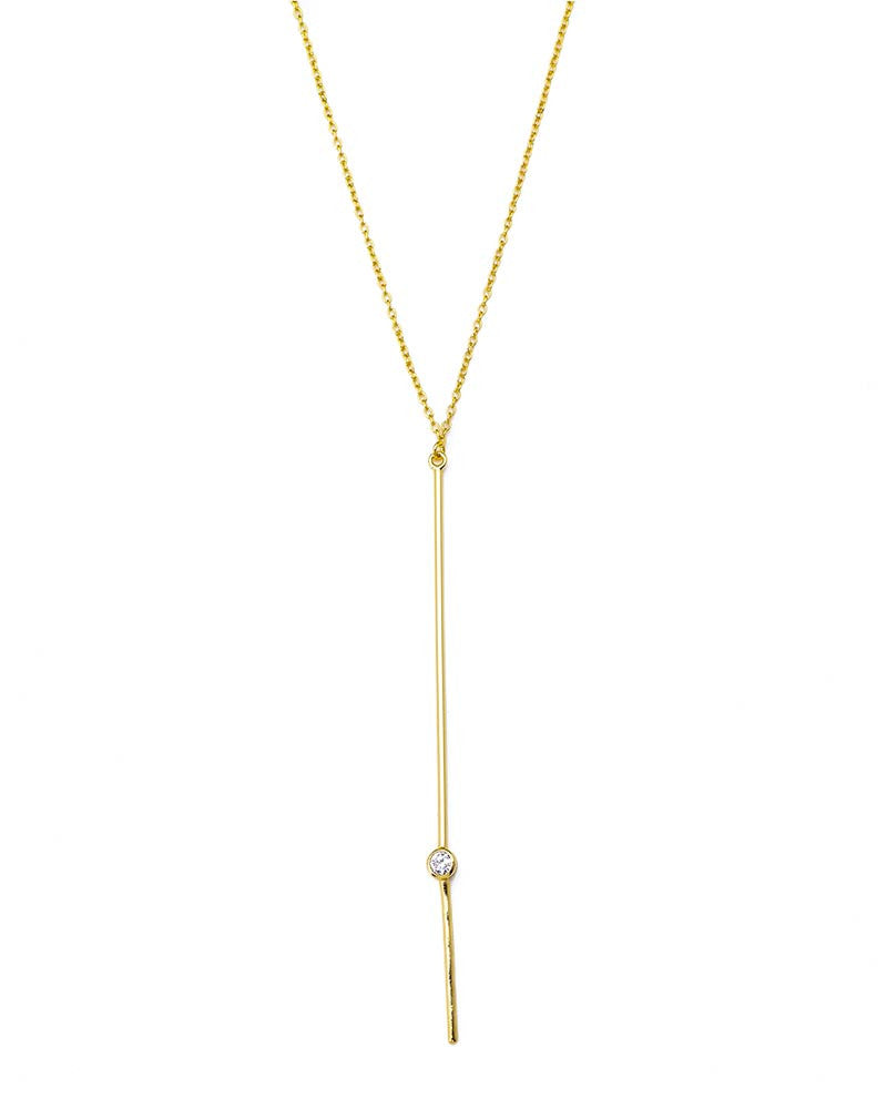 simple drop gold necklace with cz