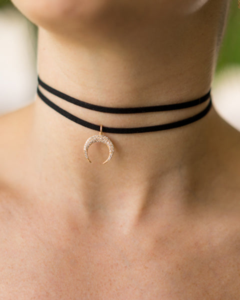 gold crescent jackson choker necklace