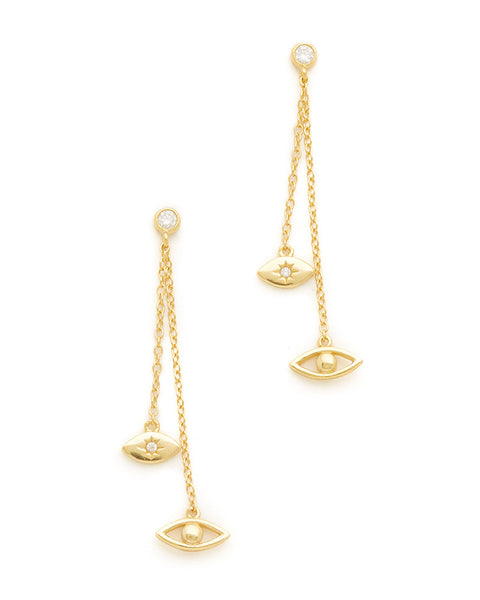 shashi evil eye dangling earrings gold