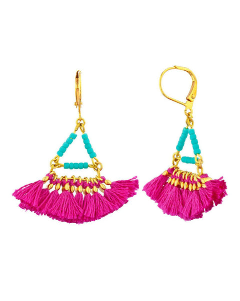 shashi magenta tassel earrings
