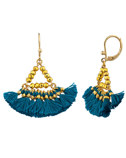 Shashi Teal Tassel Earrings