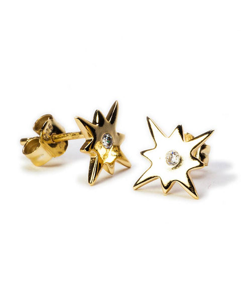 tiny starburst stud earrings