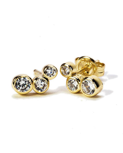 stella stud three cz earrings