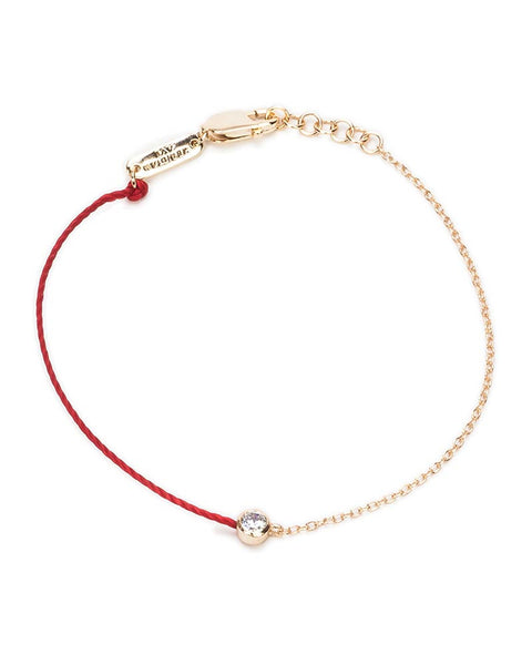 red string bracelet with gold and cz
