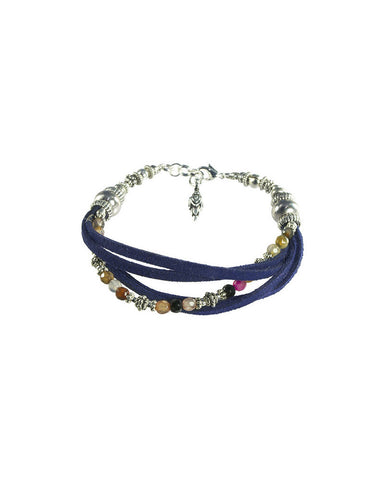 Turchin Suede Faux Wrap Gemstone Bracelet Navy