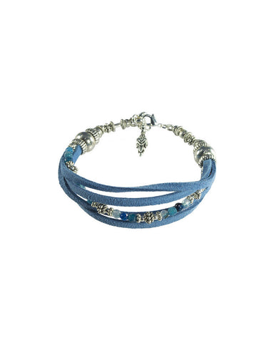 Turchin Suede Faux Wrap Gemstone Bracelet Denim