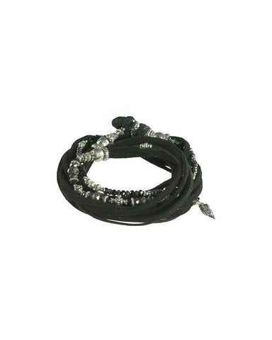Turchin Gemstone Suede Wrap Cuff Onyx Side