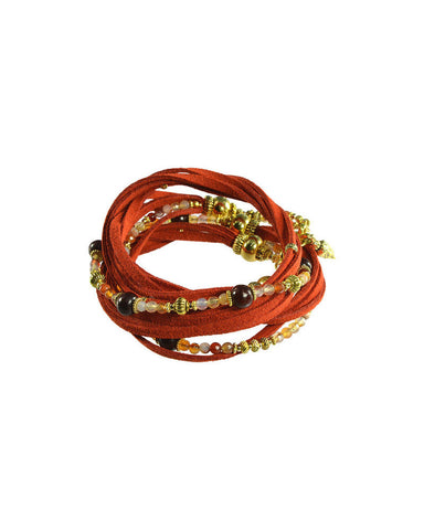 Turchin Gemstone Suede Wrap Cuff Sunset