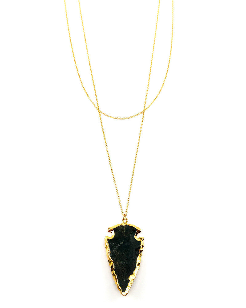 Agate arrowhead necklace gold