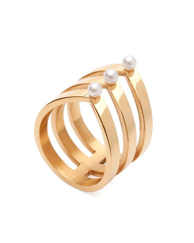 Amber Sceats Layered Pearl Ring