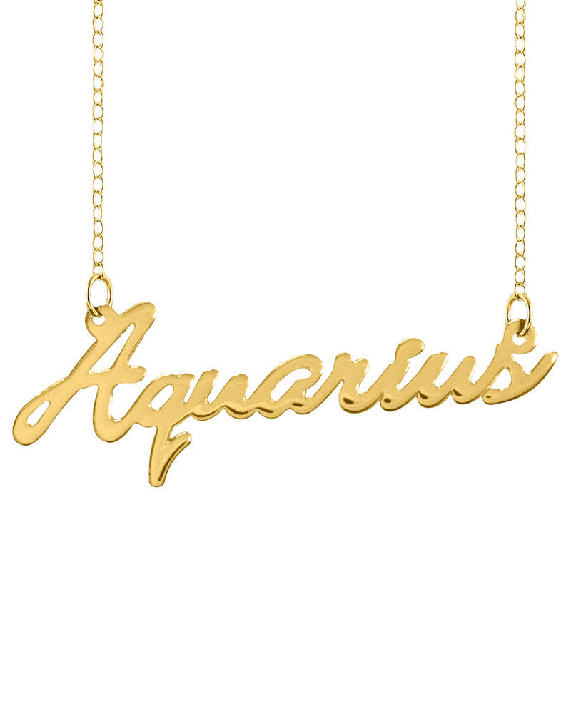 Aquarius Name Plate Gold Necklace