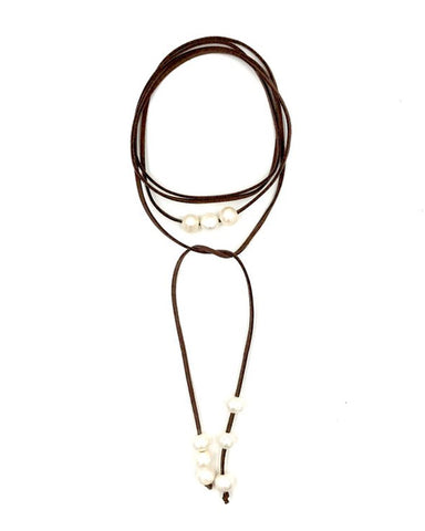 ashley gold brown suede wrap necklace