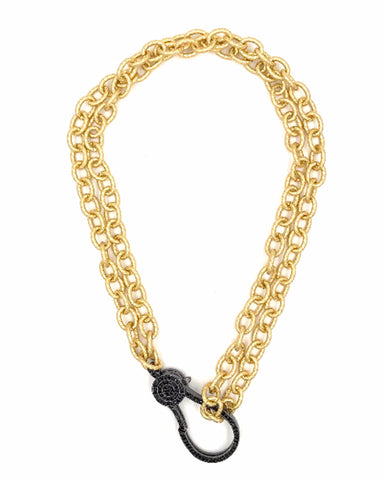 gold double chain link black clasps designer necklace ashley gold