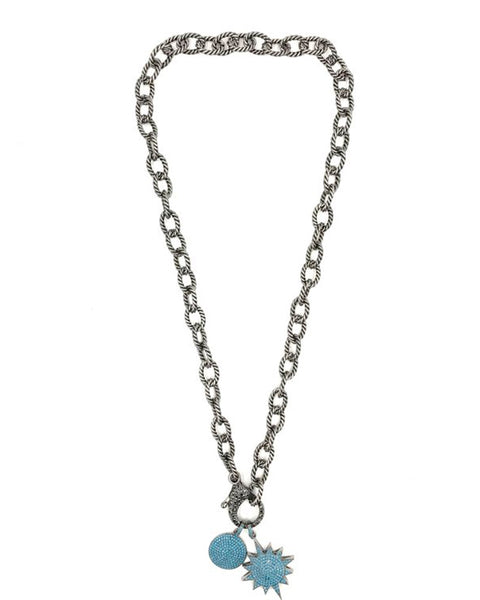 stainless steel necklace blue turquoise charms bracelet