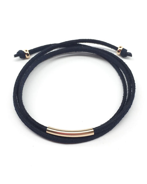 navy leather wrap bracelet gold