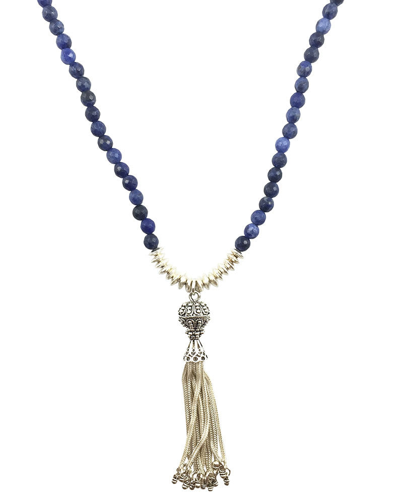 blue sodalite beaded necklace silver tassel