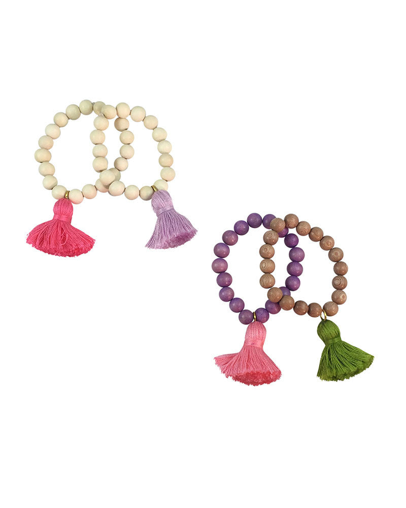 Boho Beads Light Beaded Tassel Bracelets