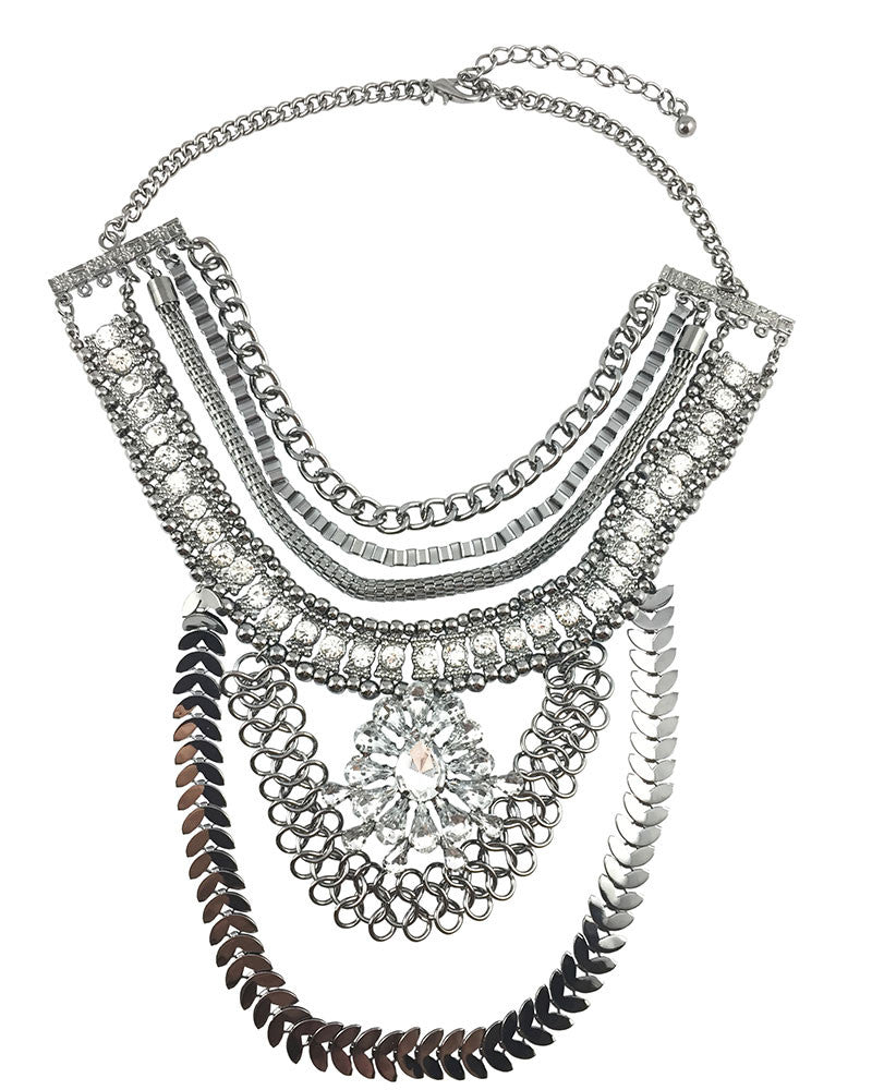 Bohemian Multilayered Silver necklace