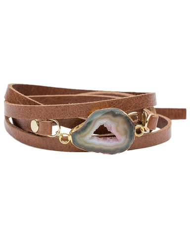 brown leather wrap bracelet with crystal