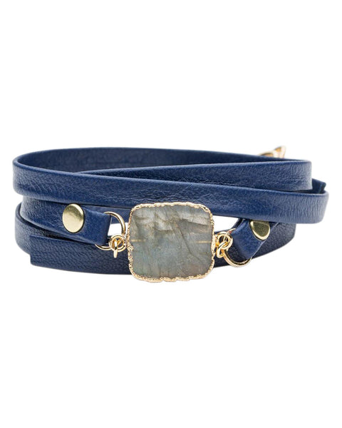 bungalow 33 blue leather bracelet with crystal stone