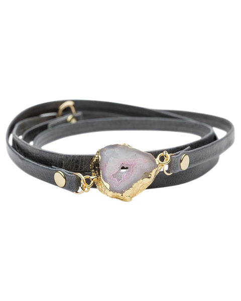grey leather wrap bracelet with stone