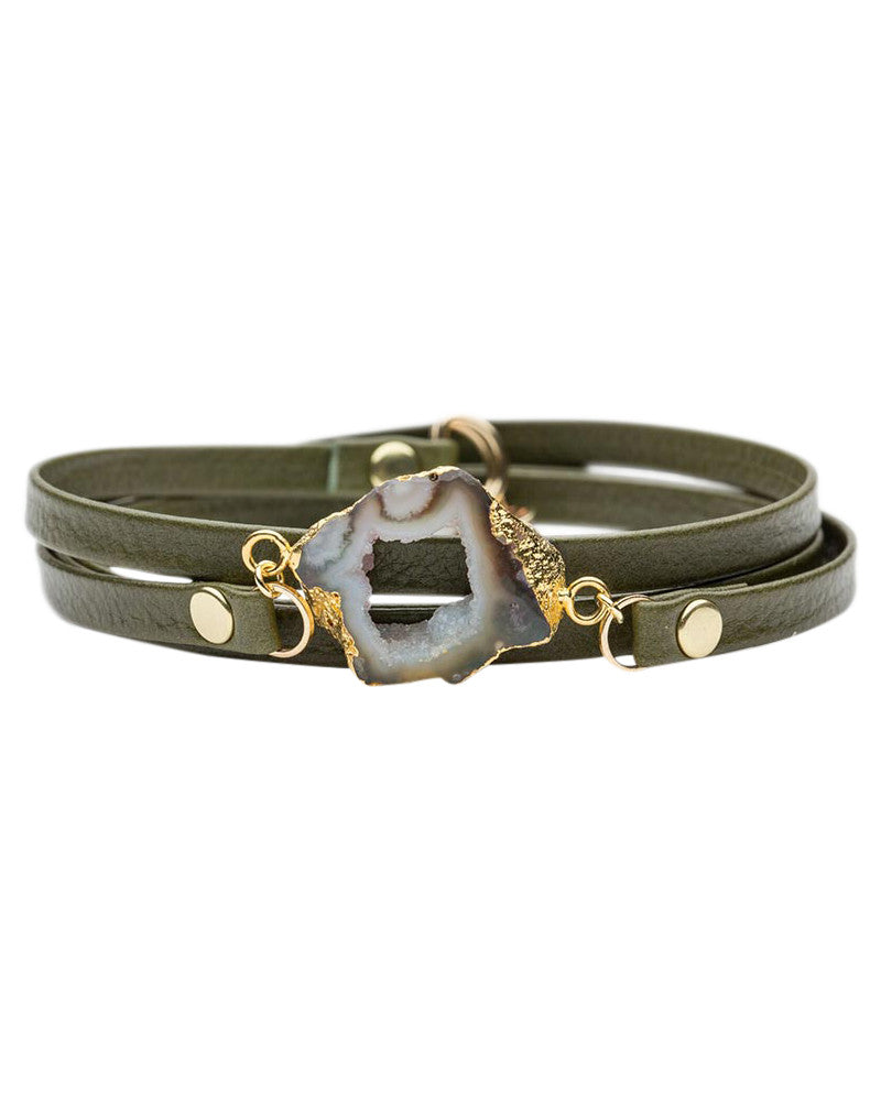 olive green leather wrap bracelet bungalow 33