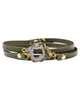 Bungalow 33 | Olive Green Leather Stone Wrap Bracelet