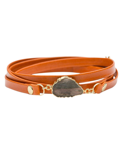 bungalow 33 orange leather wrap bracelet
