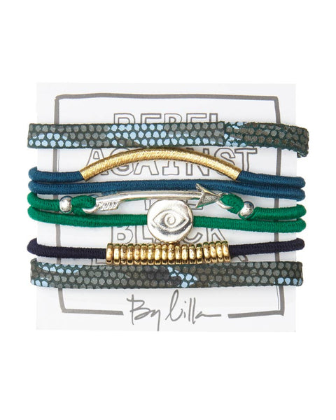 green and blue hair tie bracelet set