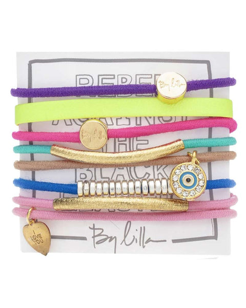 neon hair band bracelet set