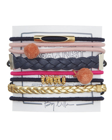 Ruby pink grey yellow gold hair tie stacks designer by lilla