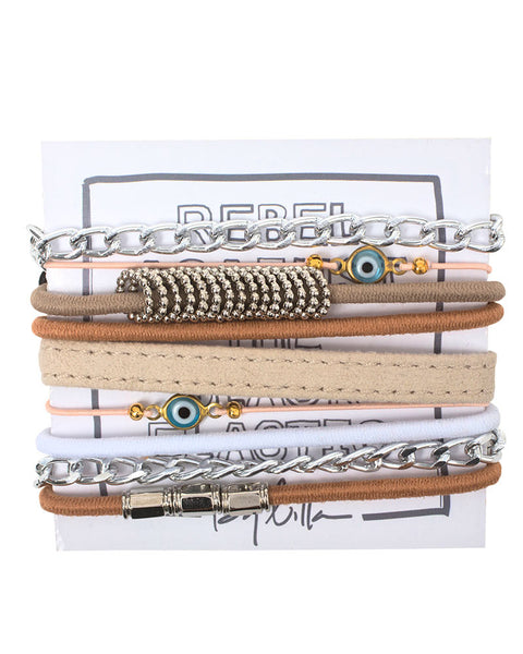 brown light bracelet set designer fun casual by lilla womens stack